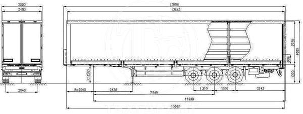 Схема: Полуприцеп борт-шторный