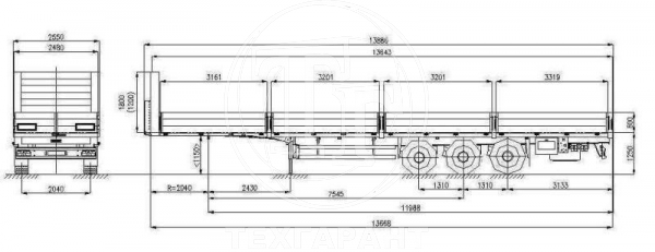 Схема: Полуприцеп бортовой